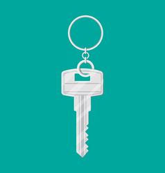 metal key with ring in flat style vector image