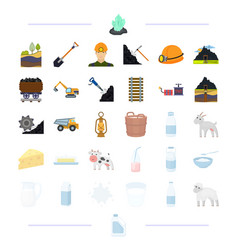 Milk products animals and other web icon in vector