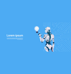 modern robot hold light bulb futuristic vector image