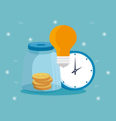 Moneybox with light bulb and clock vector