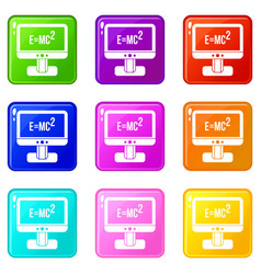 Monitor with einstein formula icons 9 set vector
