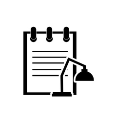 Notepad and lamp icon vector