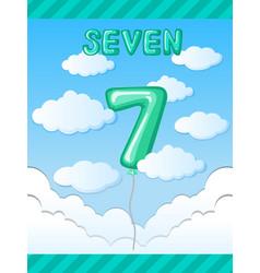 Number seven balloon template vector