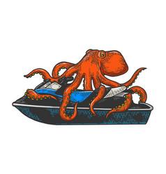 octopus on jetski water bike sketch vector image