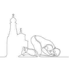 One line muslim vector