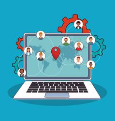 people online around world vector image