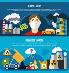 Pollution problem banners set vector