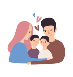 Portrait of loving family happy father mother vector