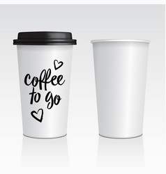 realistic blank mock up paper cups with vector image
