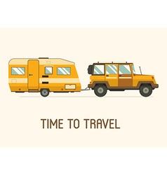 Rv Travel Camping Trailer Concept vector