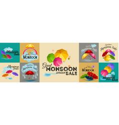 Sale banner poster for monsoon season raining vector