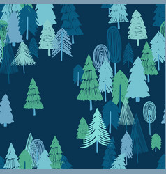 Seamless pattern of winter forest vector