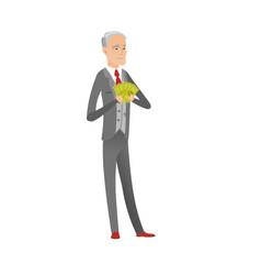 Senior caucasian businessman holding money vector
