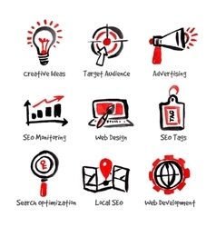 SEO and internet optimization icon set Hand drawn vector image