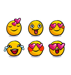 set cute valentine emoticons in love vector image