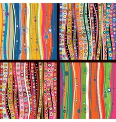 Set four colourful line background vector