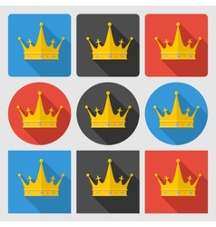Set icons with gold crown on round and square vector