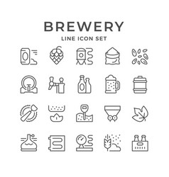 set line icons brewery vector image