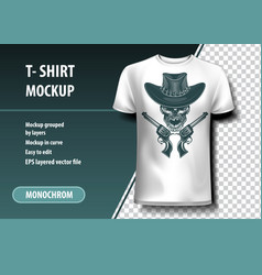 skull cowboy killer t-shirt template fully vector image