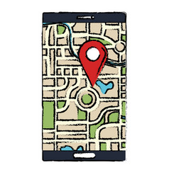 smartphone device with gps app vector image