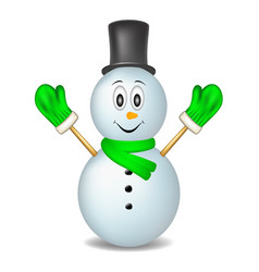 smiling snowman wearing mittens hat and scarf vector image
