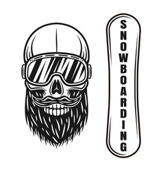 snowboarder skull in ski glasses and deck elements vector image