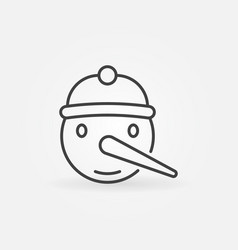 snowman face christmas icon in thin line vector image