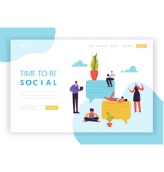 Social media networking landing page template vector