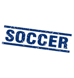 square grunge blue soccer stamp vector image