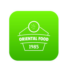 Traditional oriental food icon green vector