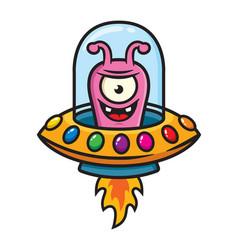 ufo alien mascot character design vector image