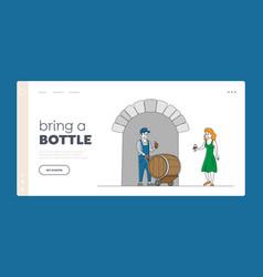 Vineyard winery winemaking landing page template vector