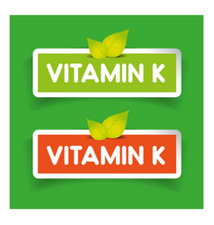 Vitamin K label set vector