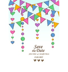 wedding invitation with decoration hanging vector image