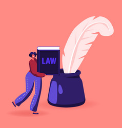woman notary or lawyer character with law book or vector image