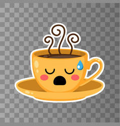yellow cup kawaii coffee on a transparent vector image