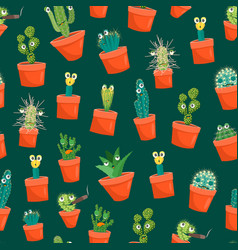 cartoon funny cactus characters seamless pattern vector image vector image