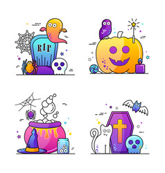 halloween poster set vector image