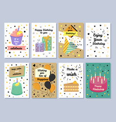 happy birthday card celebration vector image