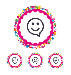 happy face speech bubble icons pointer symbol vector image vector image
