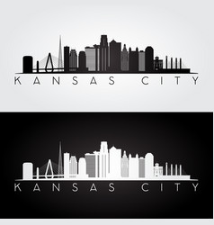 kansas city usa skyline and landmarks silhouette vector image