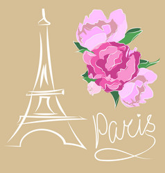 paris text with eiffel tower and flower vector image