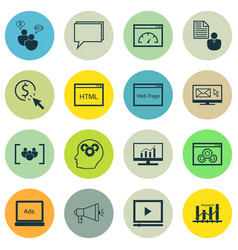 Set of 16 marketing icons includes ppc vector