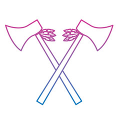 crossed pair axe native american indian weapon vector image vector image