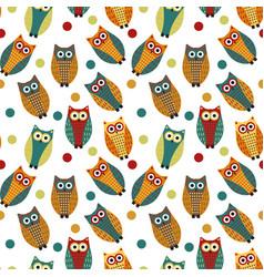 cute owl kids seamless pattern vintage style vector image