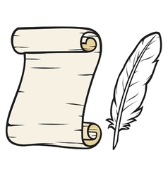 Feather and old paper vector image vector image