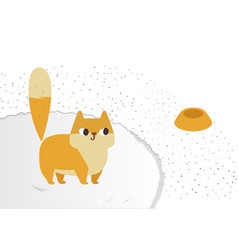 ginger cat funny plump cat on a fluffy carpet vector image