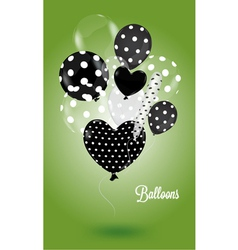 Green background with black and white balls vector image vector image