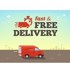 Fast shipping concept truck van vector