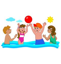 four kids playing in the water vector image vector image
